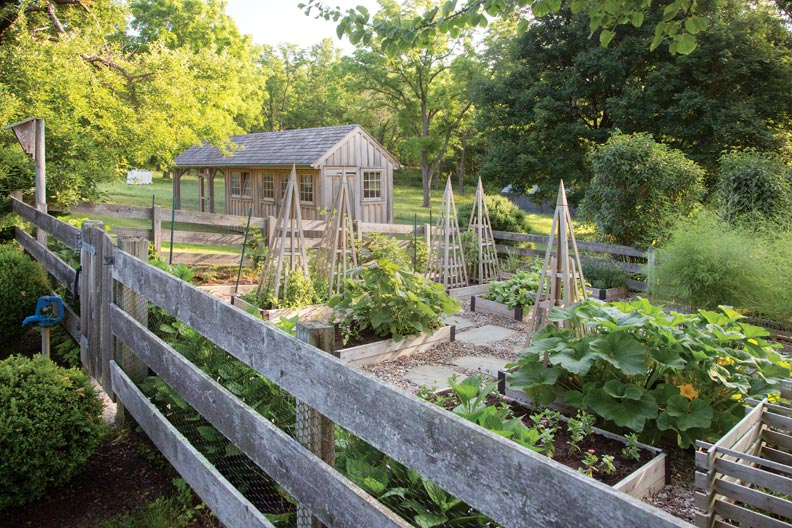 Eliza and Peter incorporated a raised-bed vegetable garden.