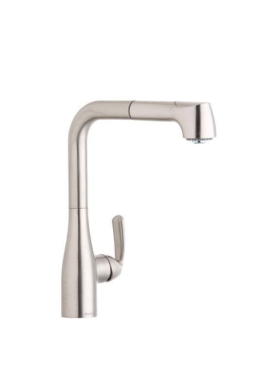 ELKAY gourmet pull-out faucet in brushed nickel.