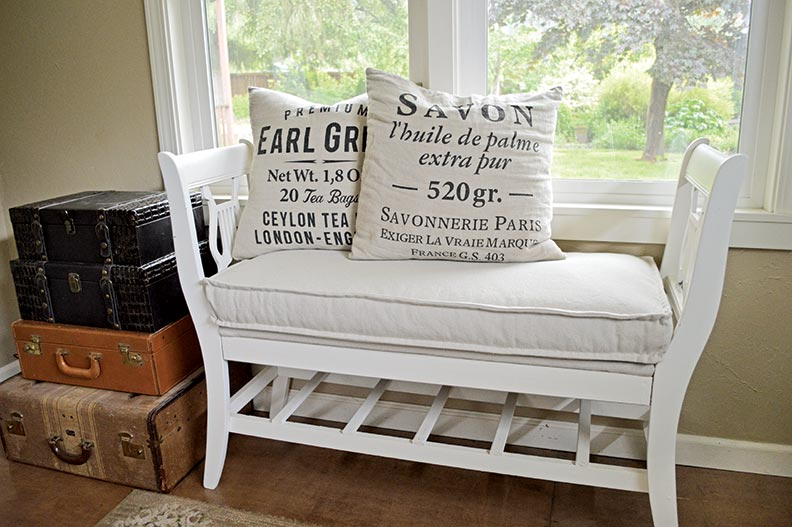 Broken dining chairs became an Empire-style bench for the entryway.
