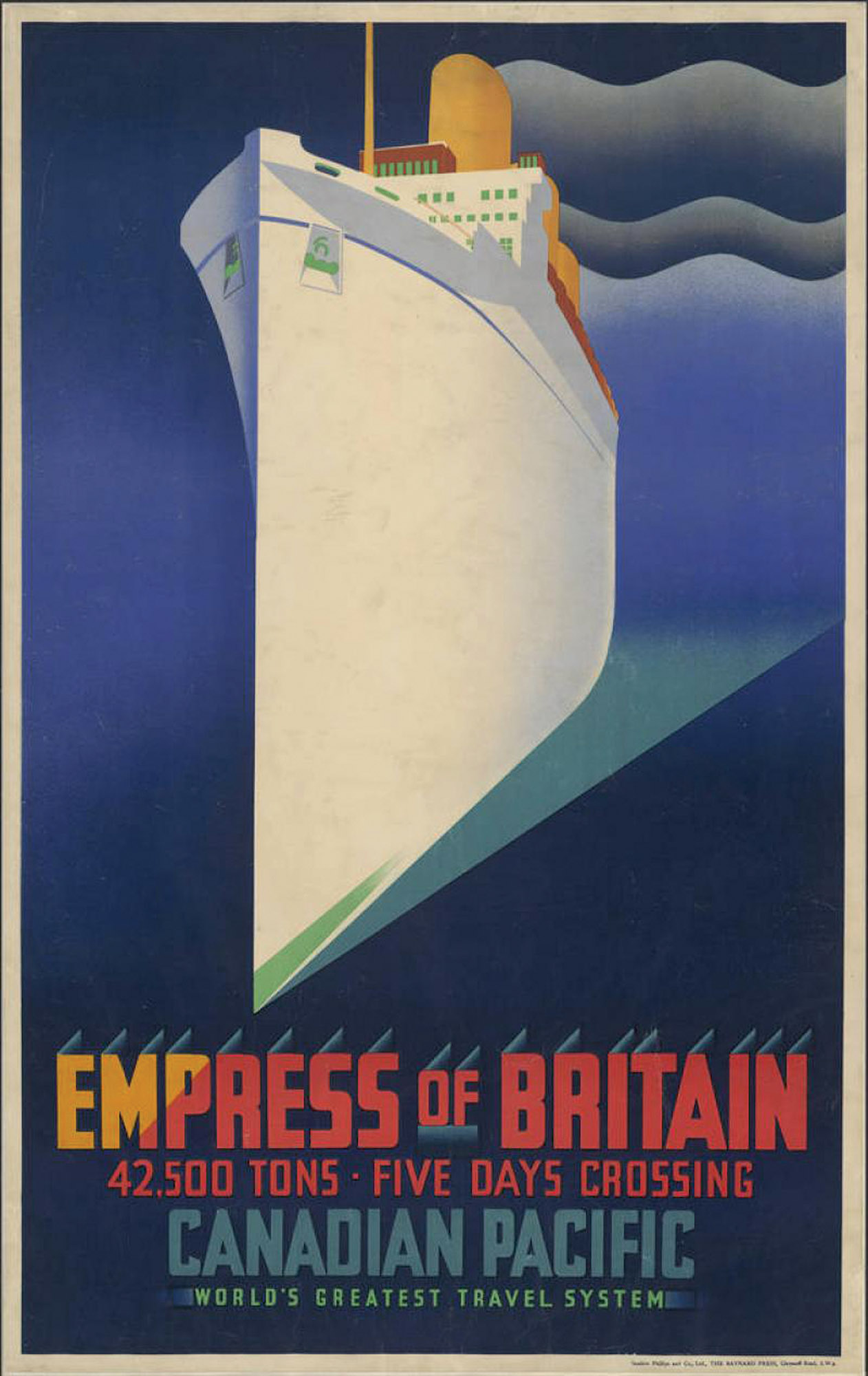 Empress of Britain Colour Lithograph poster for Canadian Pacific Railways