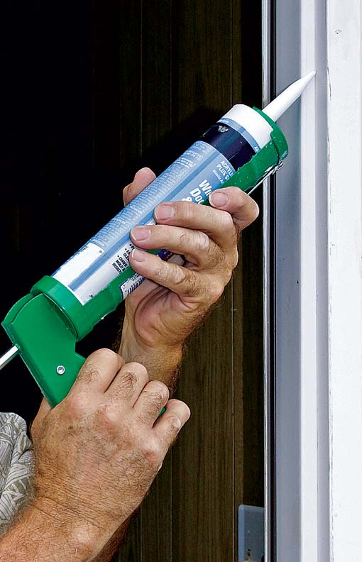 Caulking and weatherstripping can help to seal gaps around the doorframe.