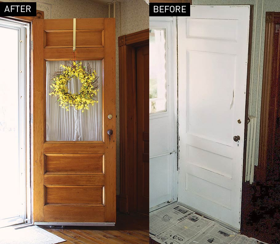 before and after front door refinish
