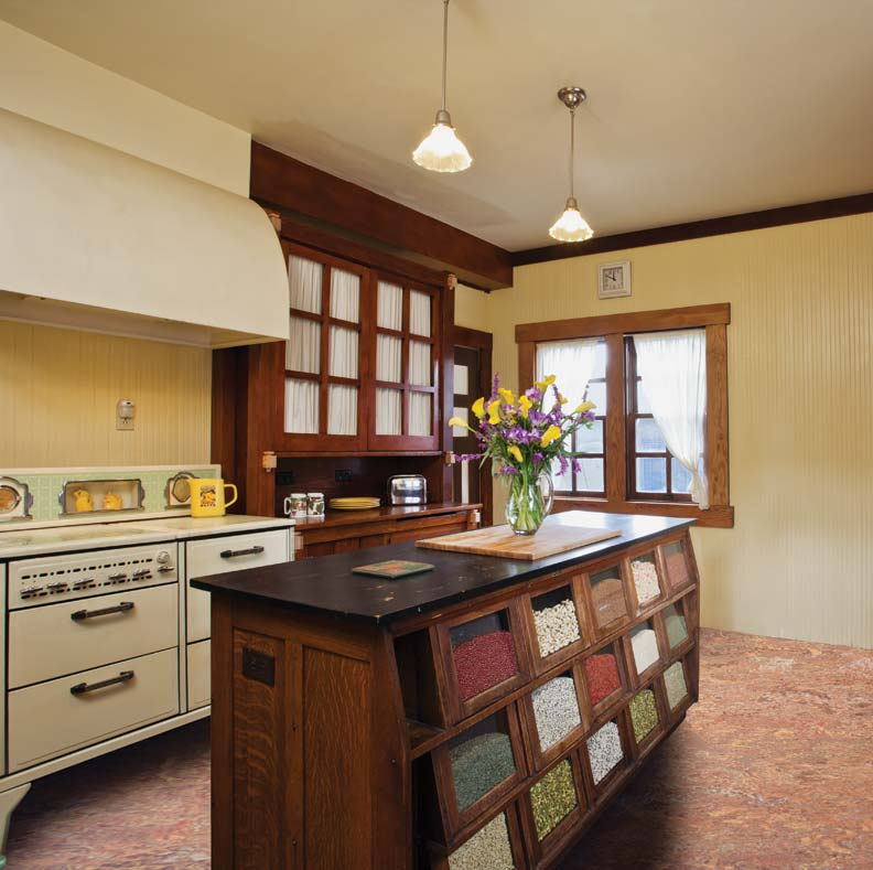The new layout placed the vintage stove and original kitchen dresser side-by-side.