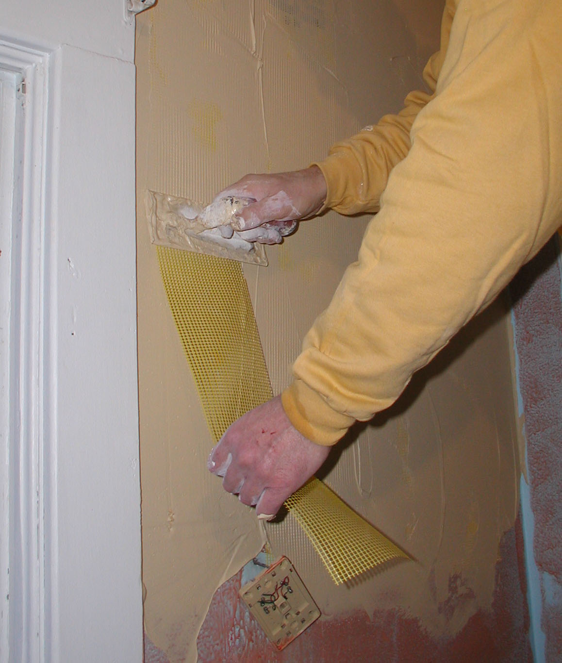 F, fixing plaster walls