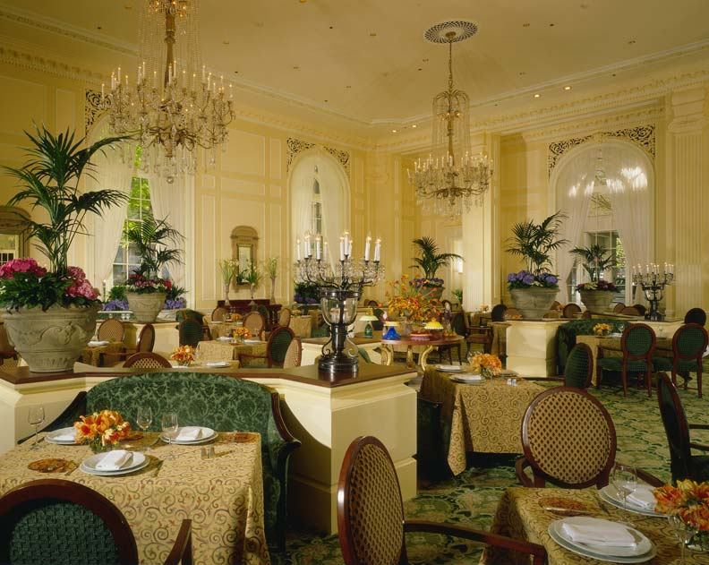 The elegant Georgian Room at the Fairmont Olympic Hotel.