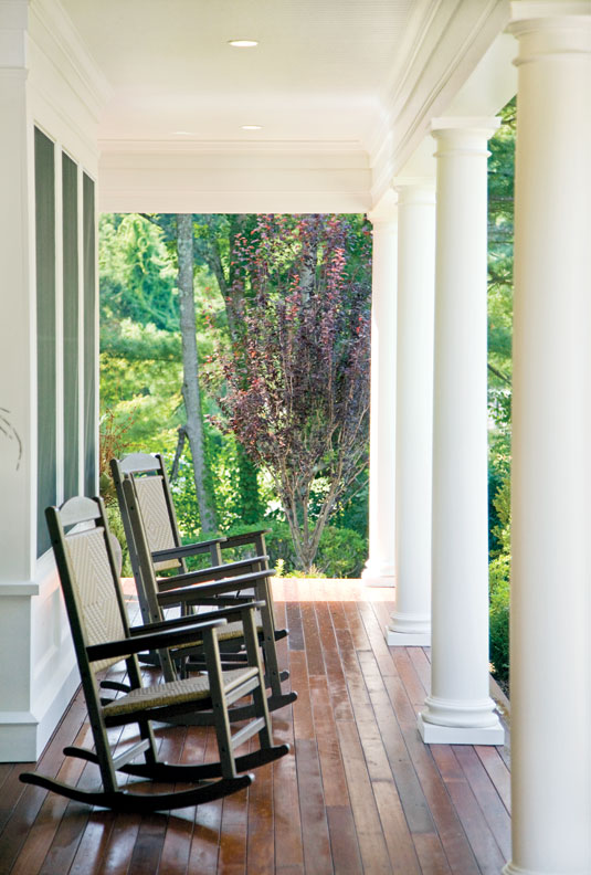 Timber-framed porches can be built to enhance the structure, adding value and comfort.