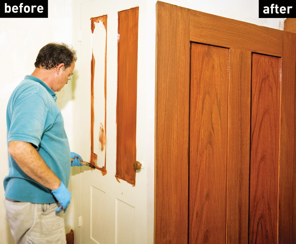 Faux wood graining before and after