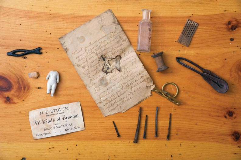 "Artifacts uncovered in the house include owner Nathan Stover's business card, handwritten lyrics to an 1860s song called ""The Birds Awakening,"" a variety of cut nails, and a Federal-era ring pull."