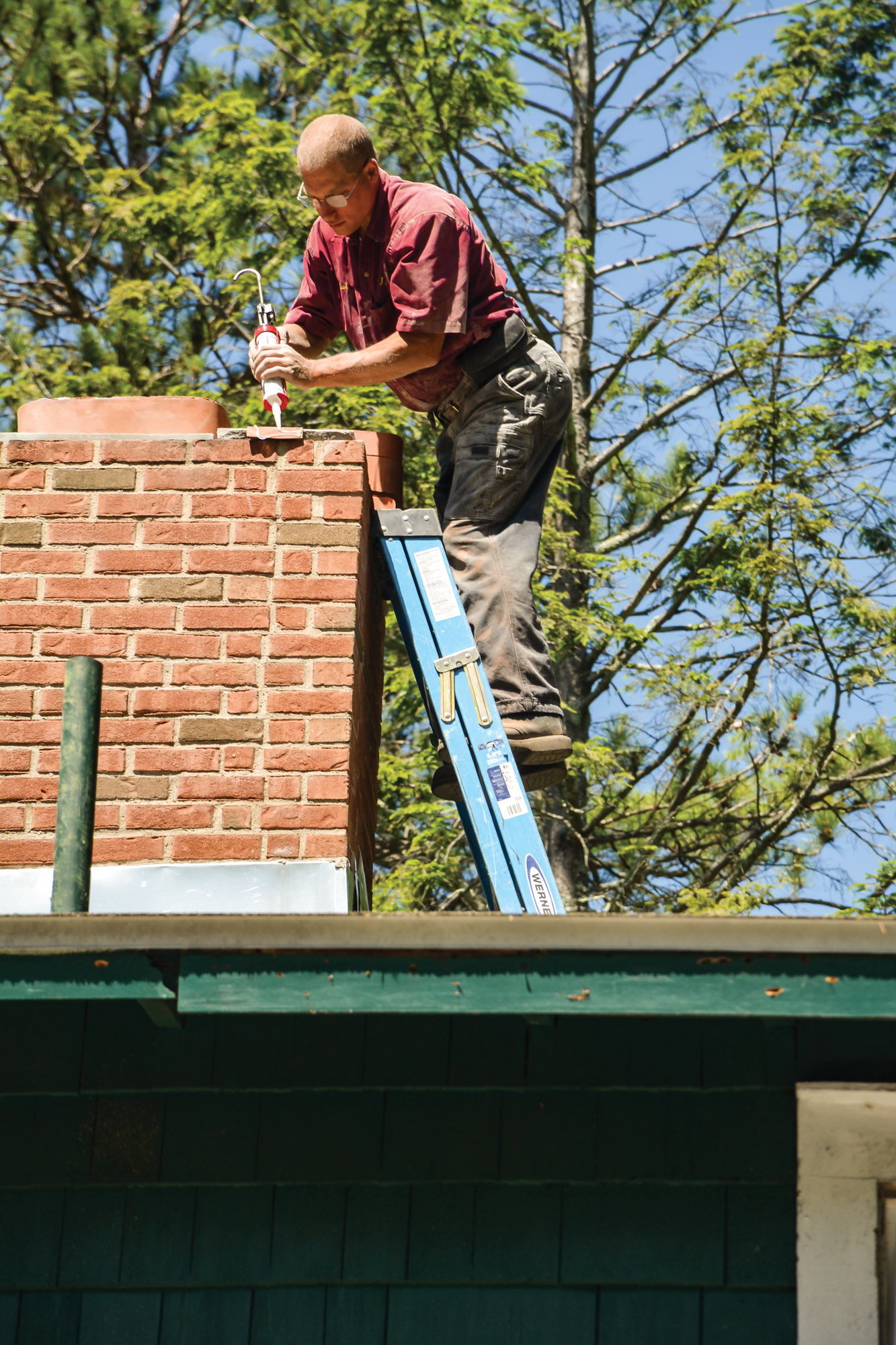 caulking chimney top