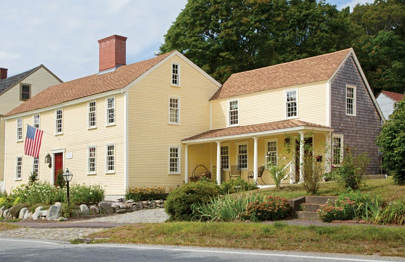 The main block of the house dates to 1686, but it was substantially rebuilt in 1747 after a fire. The wing at right consisted of two small rooms—one an old telegraph office— moved here in 1915.