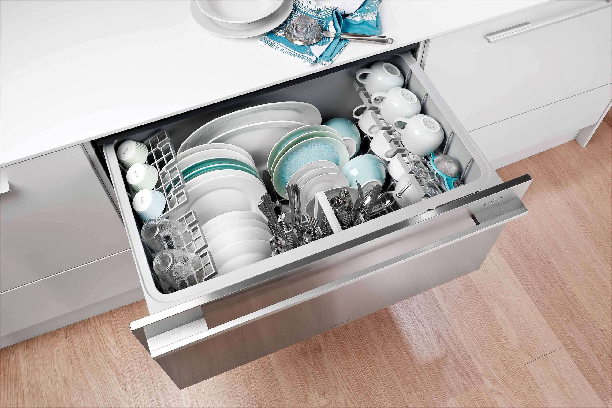 Fisher & Paykel sells ergonomically  designed, single and double dishwasher drawers that are accessible and don't require bending over.