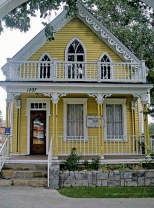 The Foreman-Roberts House Museum is noted for its exuberant Gothic Revival ornament. Built in 1864 in Washoe City, it was moved here via railroad in 1874.