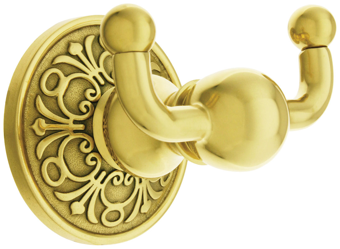 Forged brass hooks feature Lancaster rosettes that hide the mounting. (Photo credit: House of Antique Hardware)