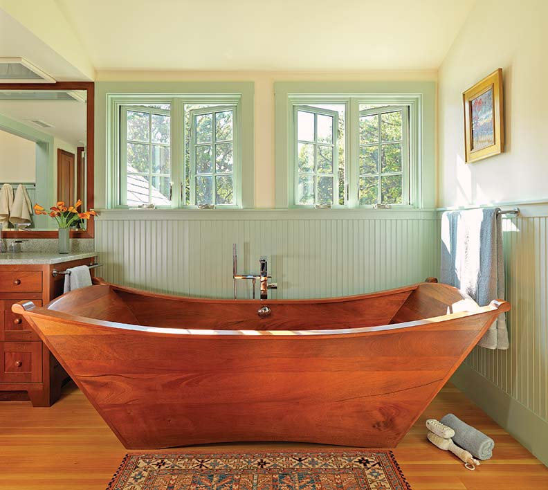 Carpenter & MacNeille Architects designed this Arts & Crafts-style bath with a Japanese-inspired soaking tub.