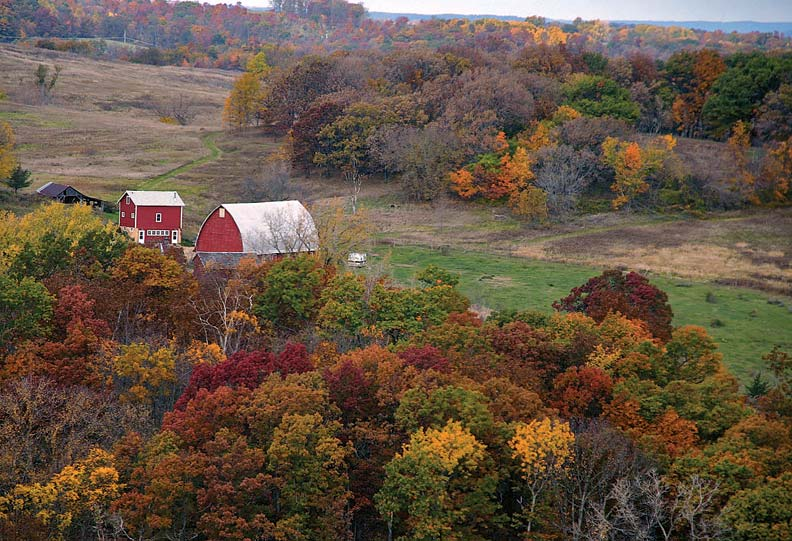 The pastoral Spring Green landscape, awash in fall color.