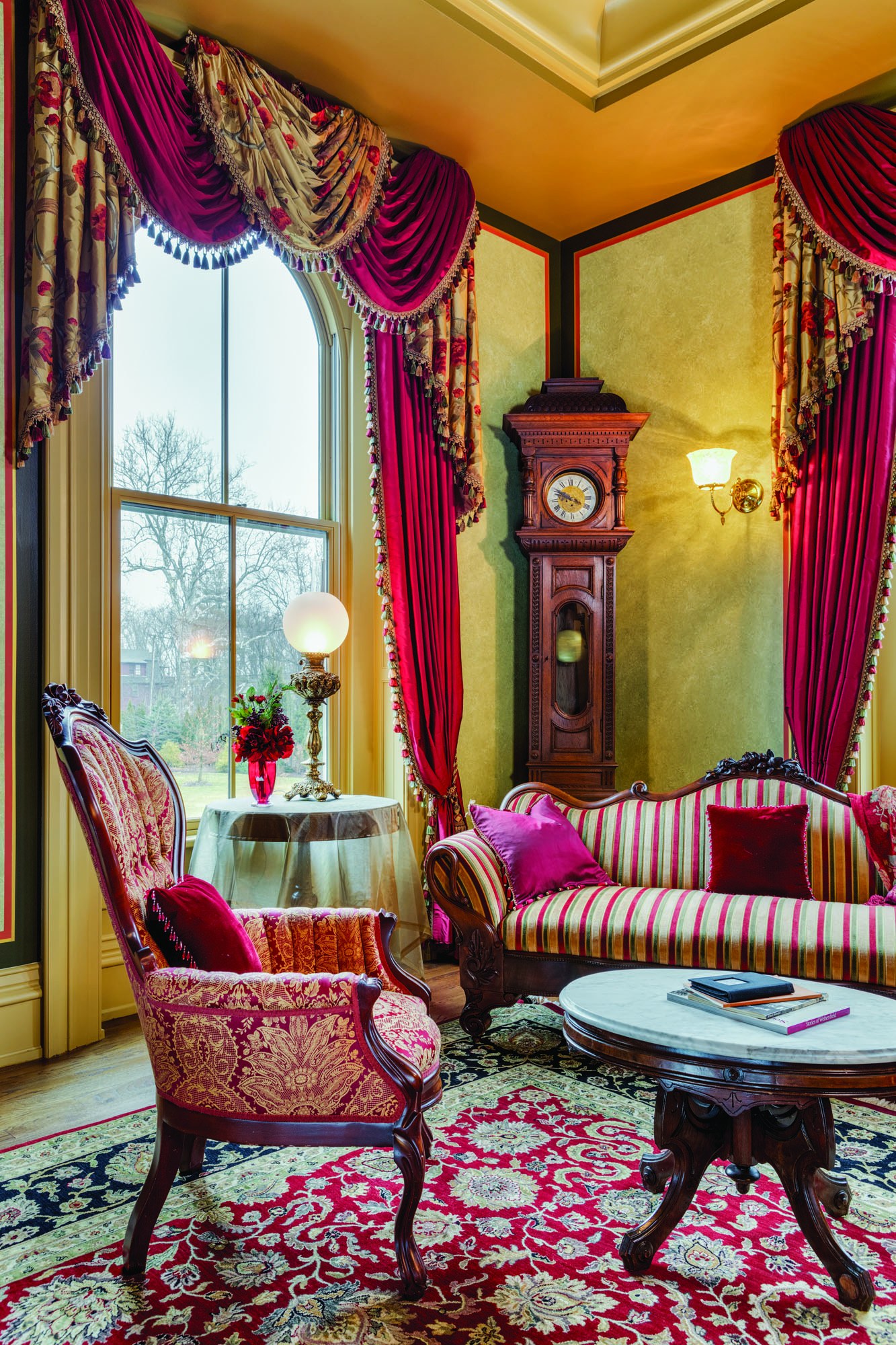 The Parlor is furnished with Renaissance Revival antiques.