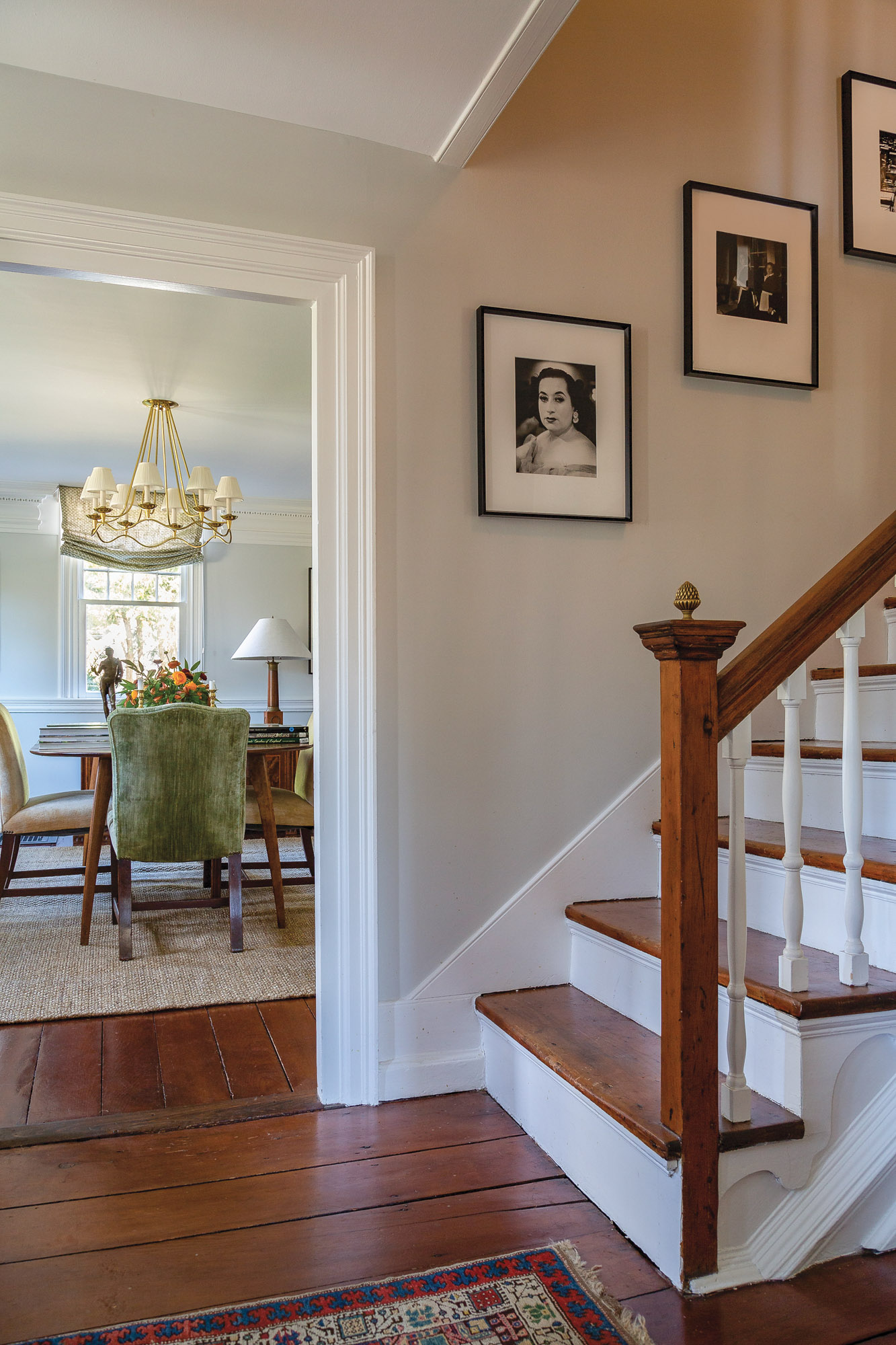 staircase with white pine floor