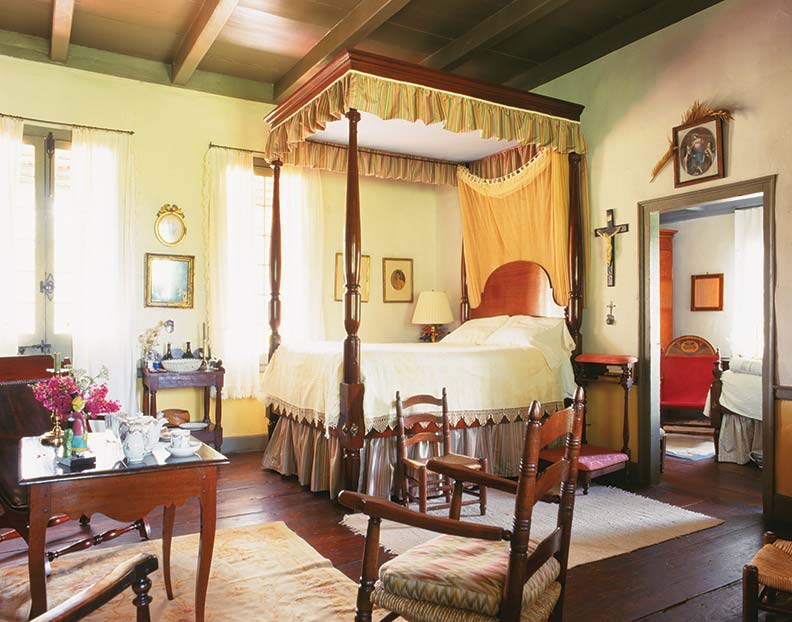 Furnishings are a mix of European and Louisiana pieces.