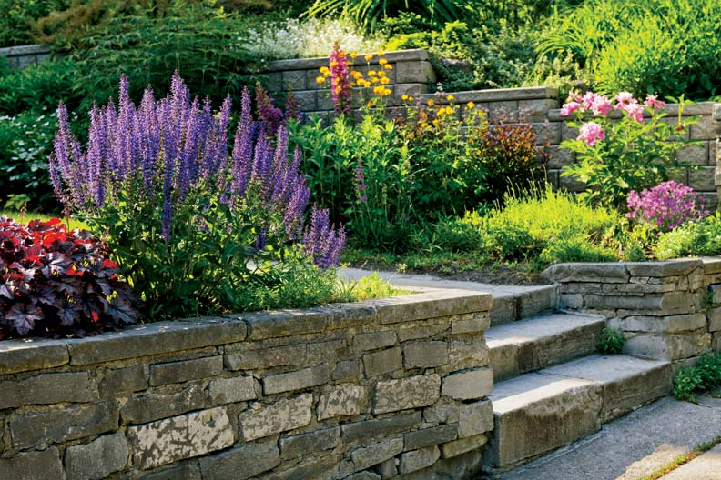 Stone walkways make a beautiful addition to the perennial garden.