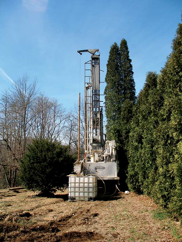 Installing the geothermal system first involved drilling six boreholes into the earth to access consistently warm temperatures.