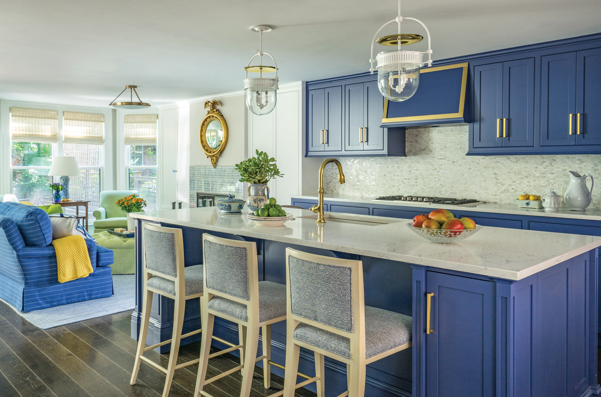 custom cerulean-blue cabinetry in the kitchen