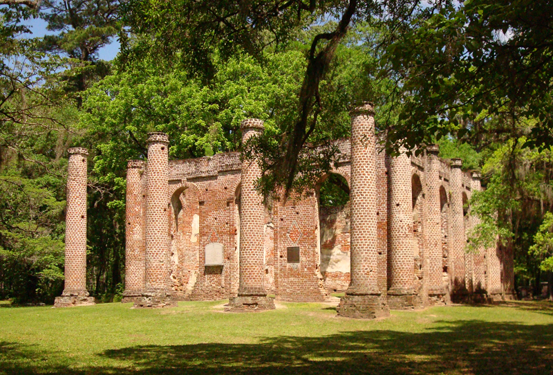 Get off the highway to see places like the ruins of the 1757 Old Sheldon Church in Yemassee, South Carolina, burned by Sherman and then gutted by locals rebuilding their homes.