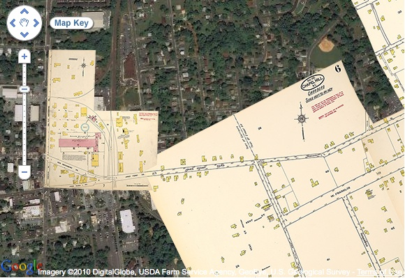"""Docsouth's """"Going to the Show"""" project combined historic Sanborn maps of North Carolina towns with current Google satellite images."""
