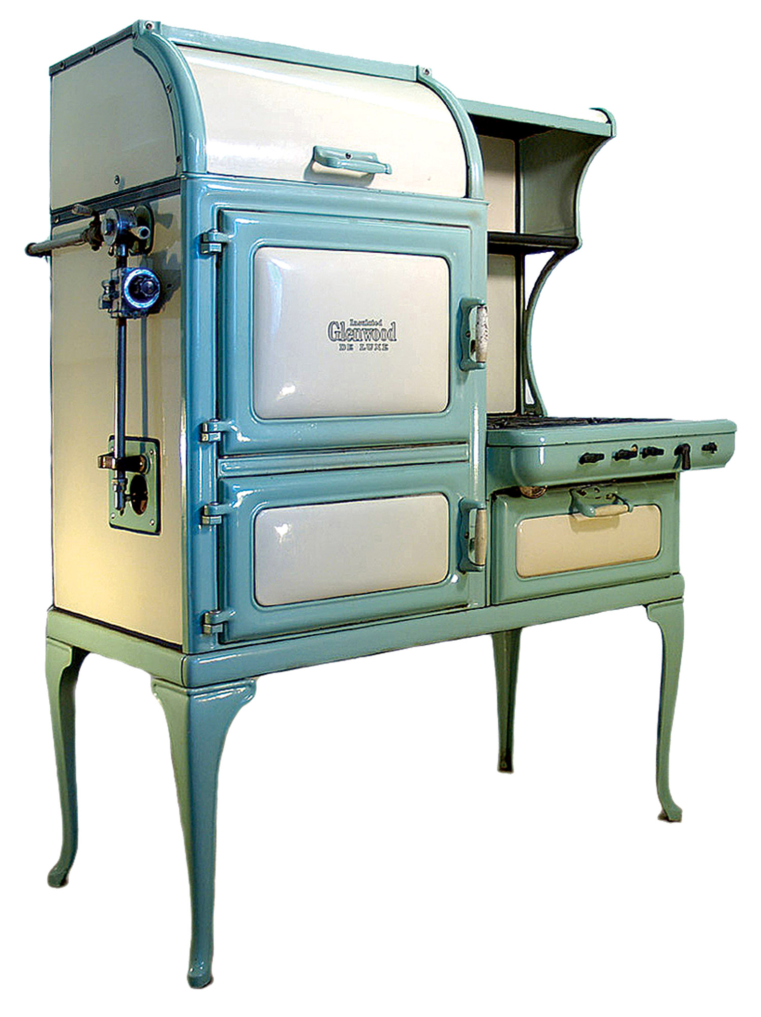 Many a kitchen palette has been based on Glenwood's unique eggshell-and-green stoves. This refurbished model is from Good Time Stove.
