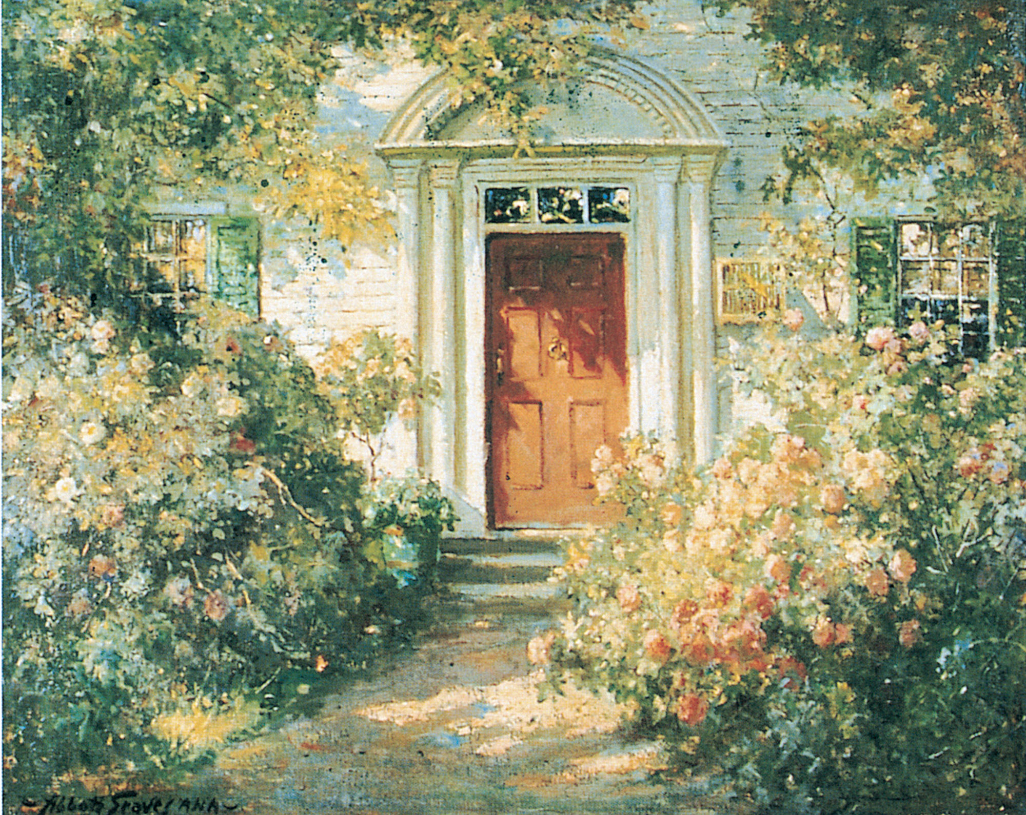 "Colonial Revival sentiment grows with the roses in ""Grandmother's Doorway"" (ca. 1900) by Abbott Fuller Graves, who made a specialty of painting the old houses of New England and their cottage gardens."