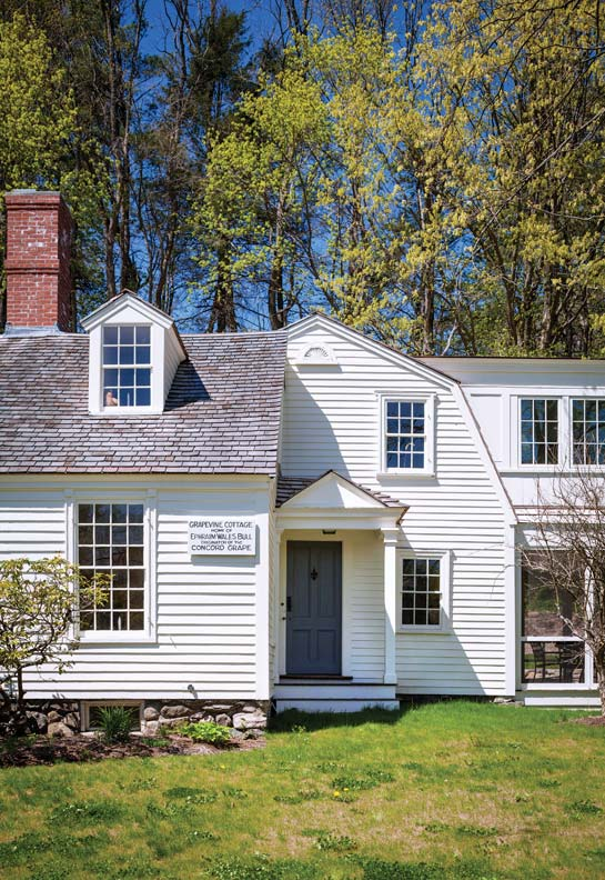 A one-and-a-half-story cape intersects a gambrel-roof cottage; the core of the house is First Period. The porch was added in the 1920s.