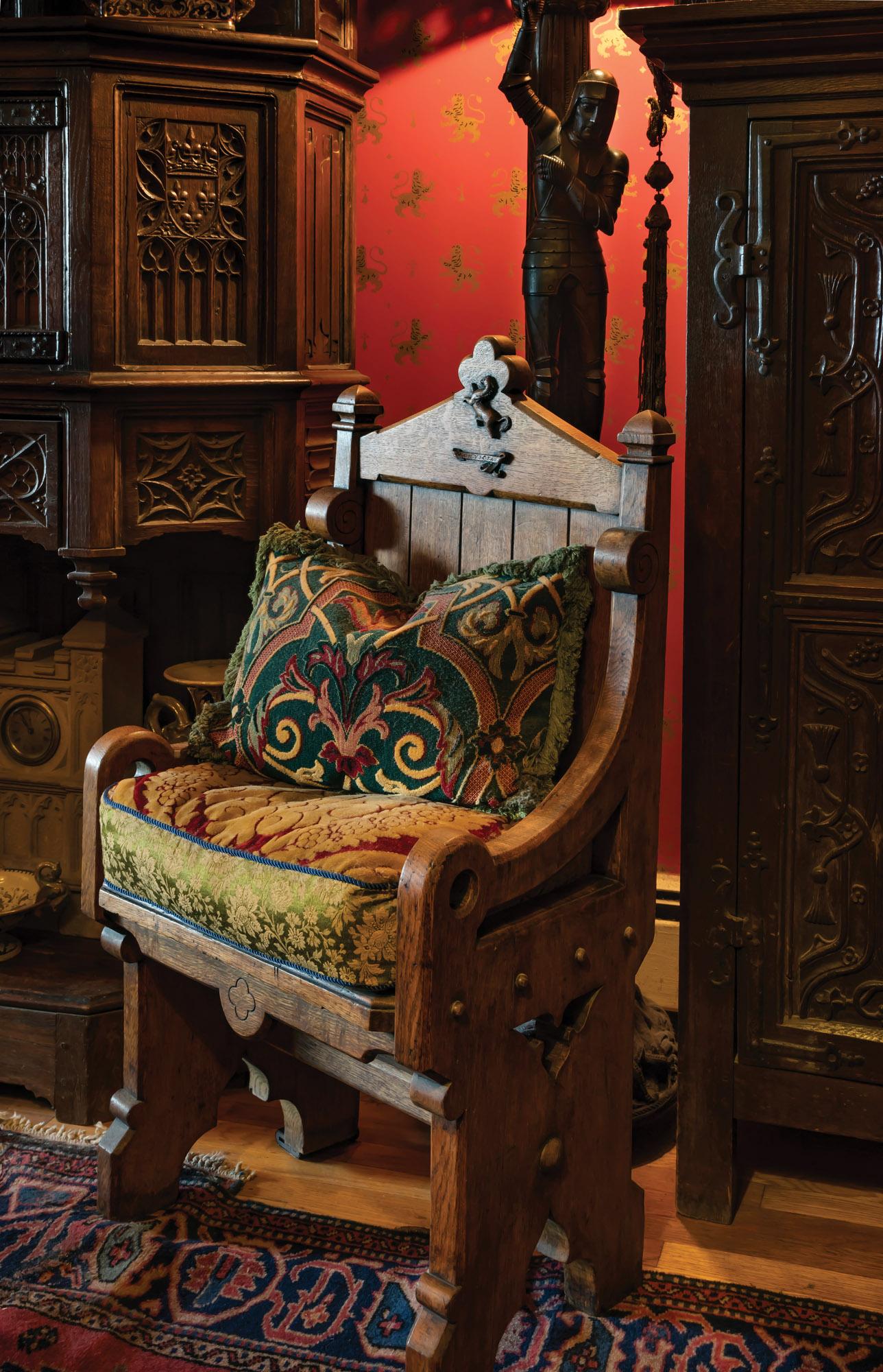 antique oak hall chair, linenfold oak cabinet