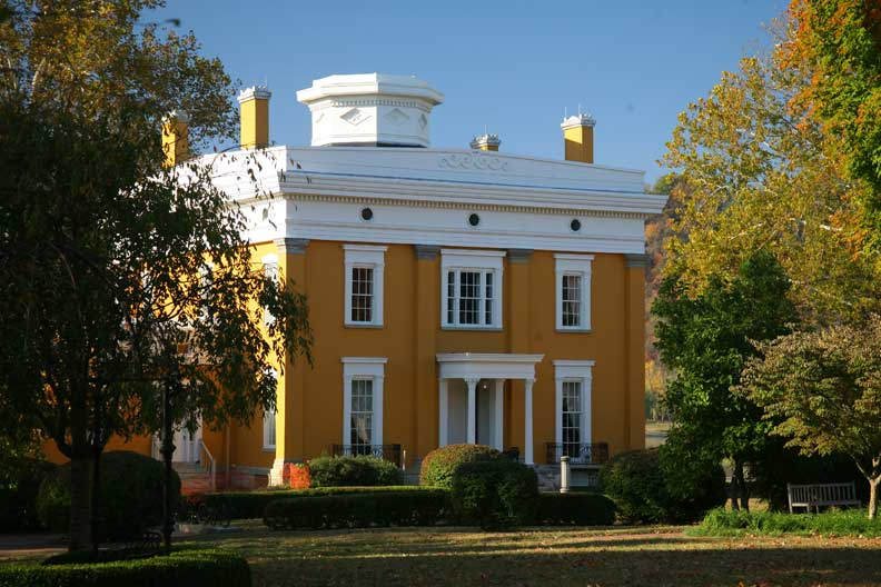 The rear façade of the Lanier Mansion in Madison, Indiana, highlights its octagonal cupola. Greek Revival house