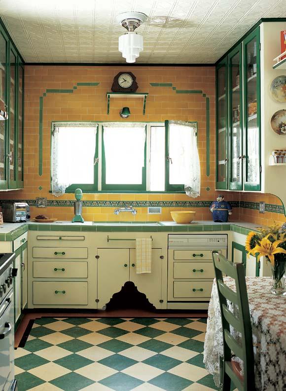 Green and cream tiles laid on the diagonal jazz up a Depression-era Tudor kitchen.