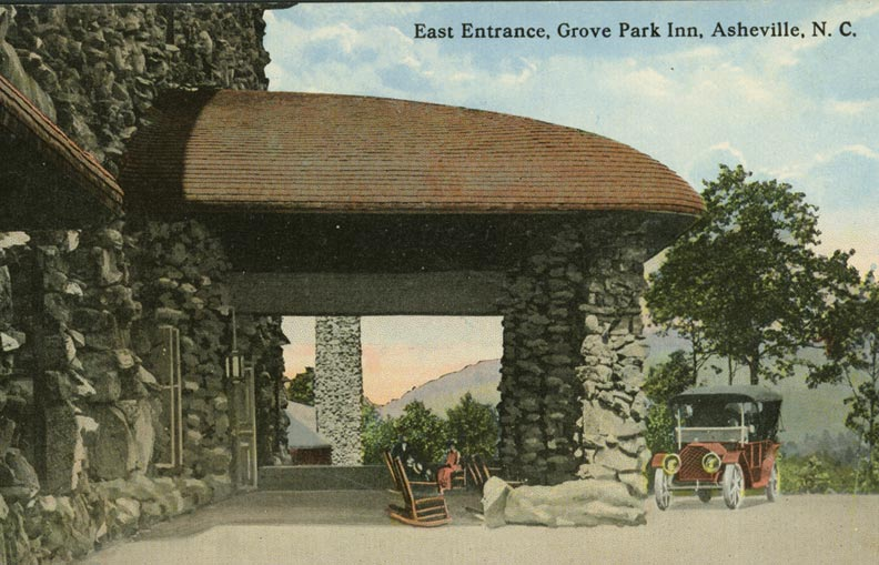 The 1913 landmark—seen here on an early postcard—was built by hand, of stone blasted from the site, and overlooks the Blue Ridge mountains.