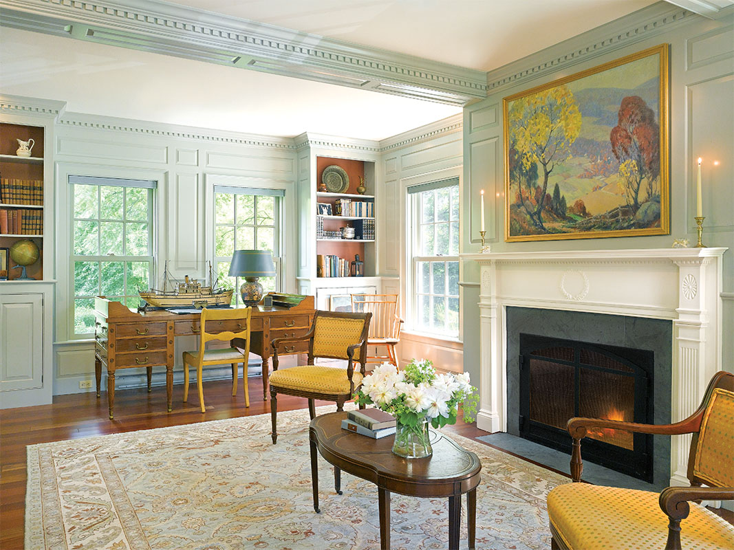 The 1700s Georgian Colonial-style wing was inspired by the homeowners' collection of antique furniture and art.