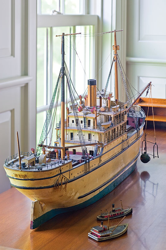 A model of the Arcturus steamship is one of the many family heirlooms that inspired the design of the addition.
