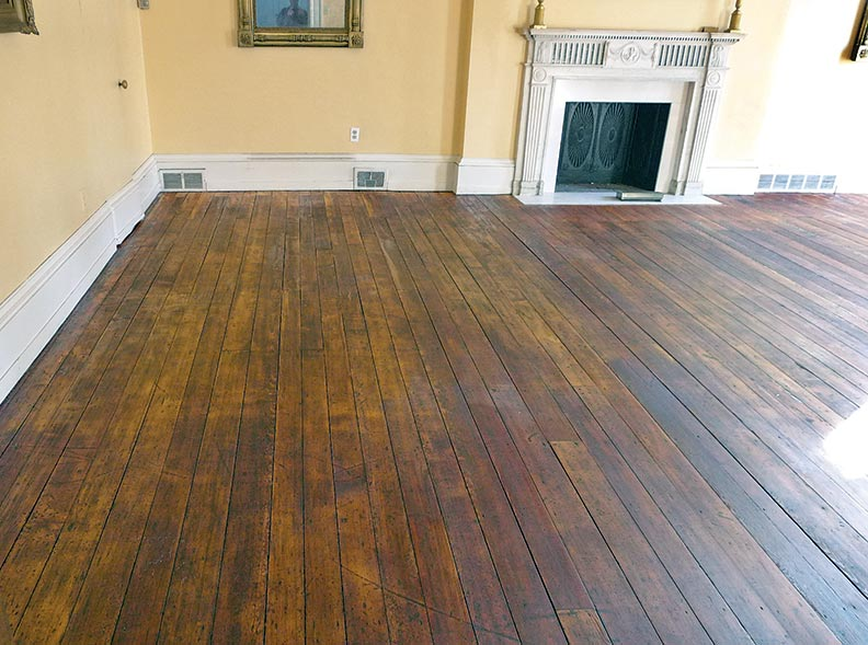 Hand-scraped wood floor
