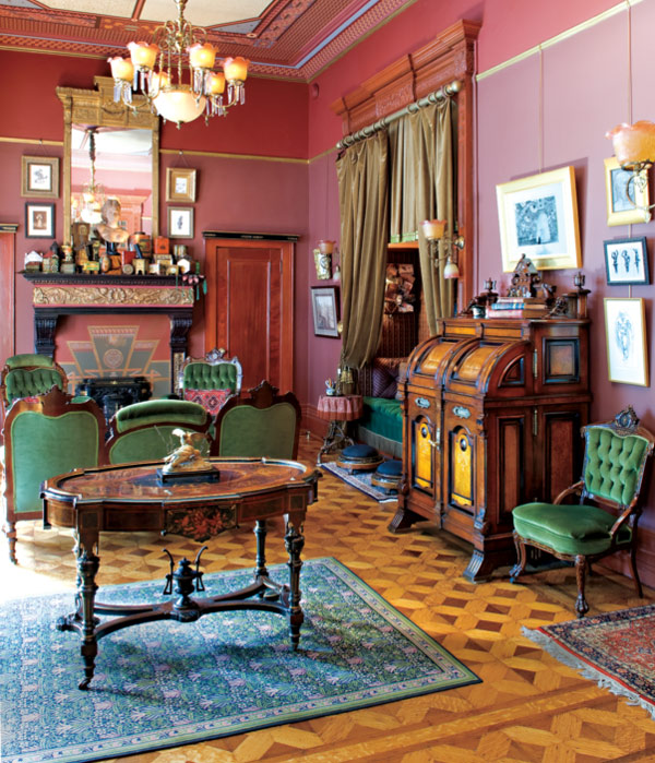Hardwood parquet flooring is the standard for high-style and urban Victorian houses.