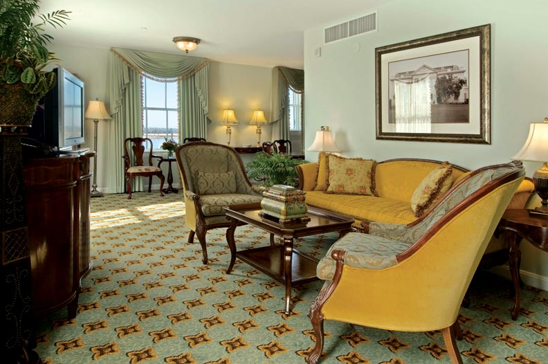 The Huey P. Long Suite is decorated with reprints of historical photos relating to the legendary Louisiana governor.