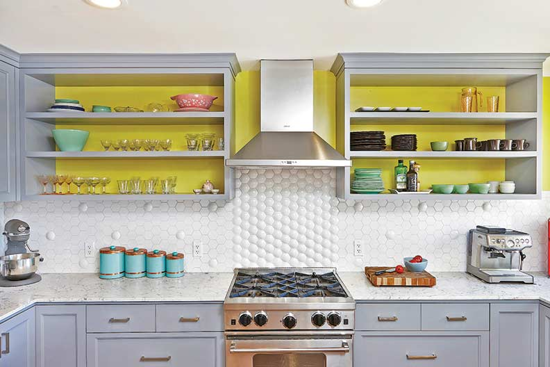Mid-century Modern-inspired tiles are also gaining popularity. Shown here is a large hex backsplash tile in white.