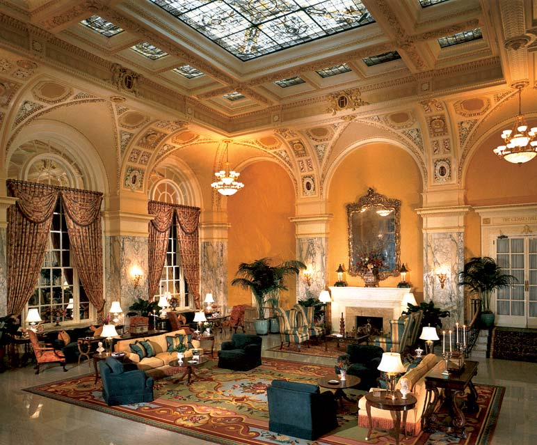 The hotel's first restoration, in the 1980s, uncovered the magnificent painted-glass skylight in the lobby.