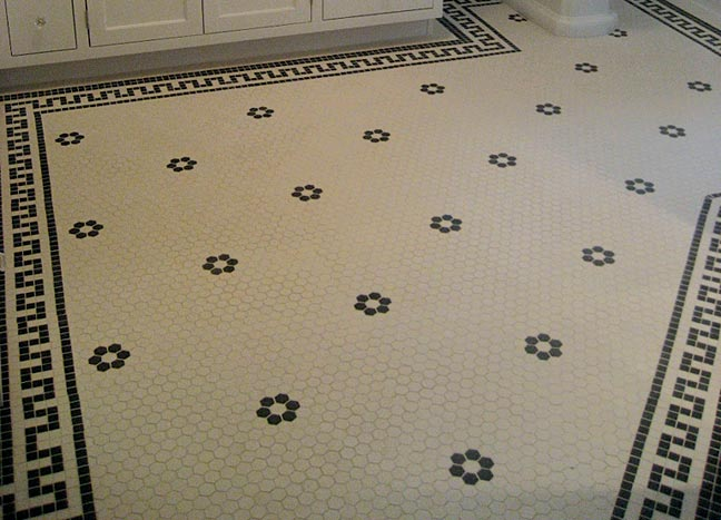 Hex tiles and pre-made borders, American Restoration Tile.