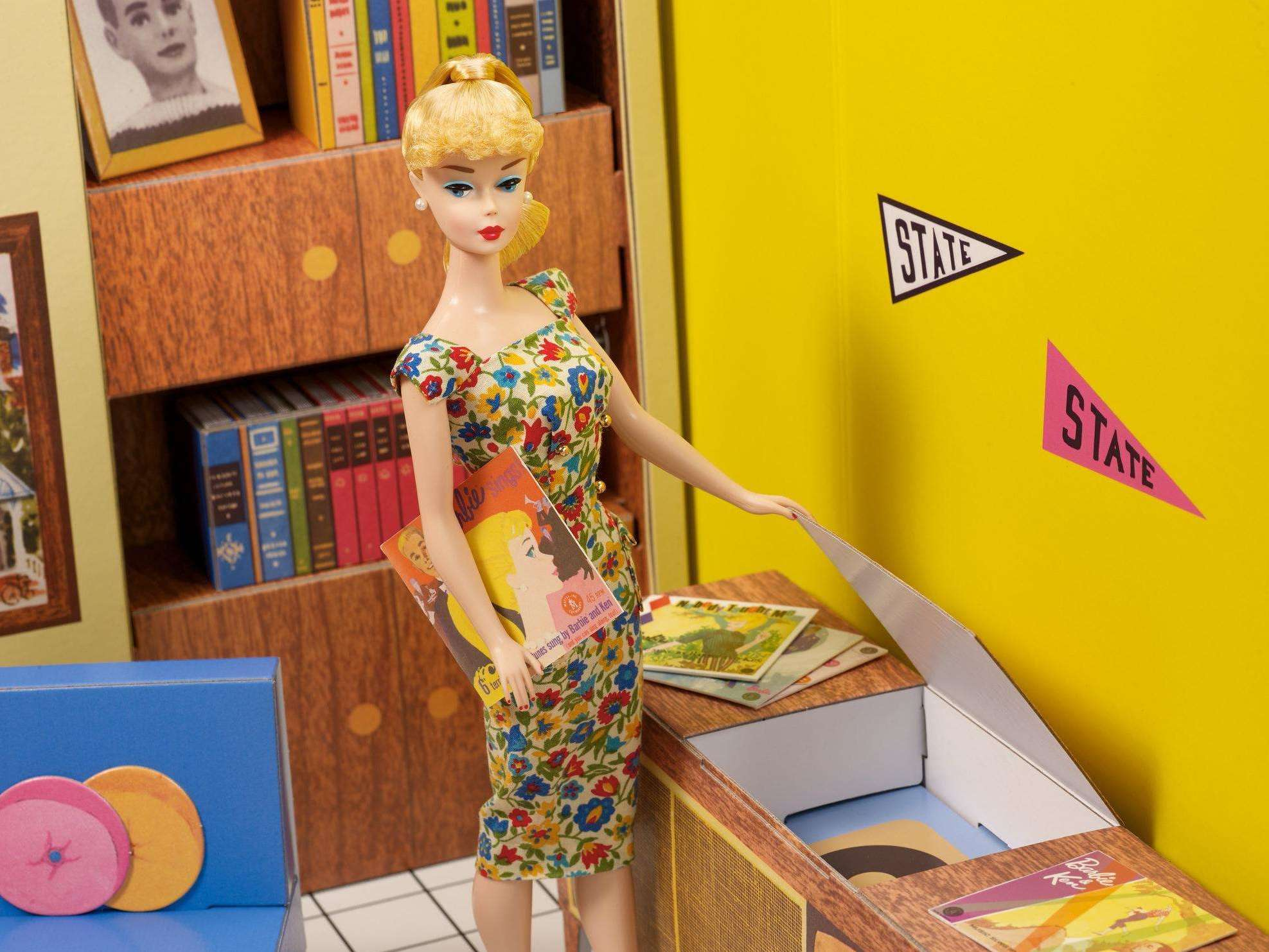 Barbie at record player