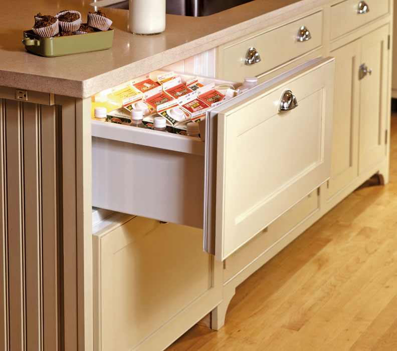 Refrigerator drawer in an old-house kitchen