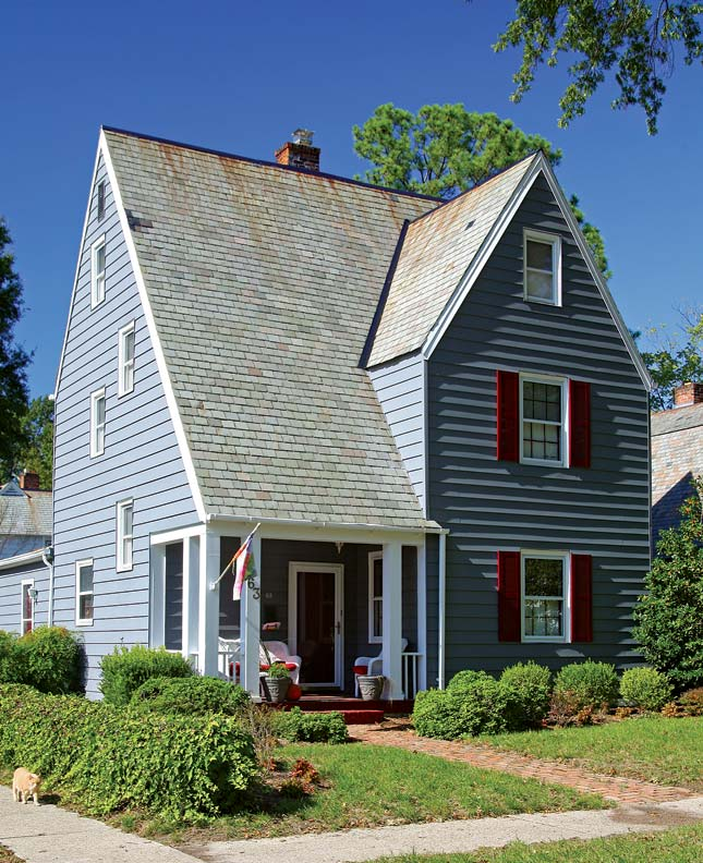 Extremely steep, three-story roofs are a distinctive Arts & Crafts feature of a number of Hilton Village houses.