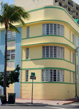 Sunny pastels and glamorous mid-century architecture typify Miami's Art Deco District.