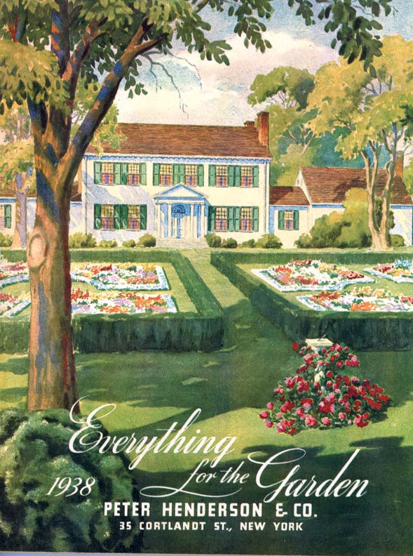 With its emphasis on geometric shapes, an ancient-style garden accents a Federal-style house in this cover from a 1938 seed catalog.