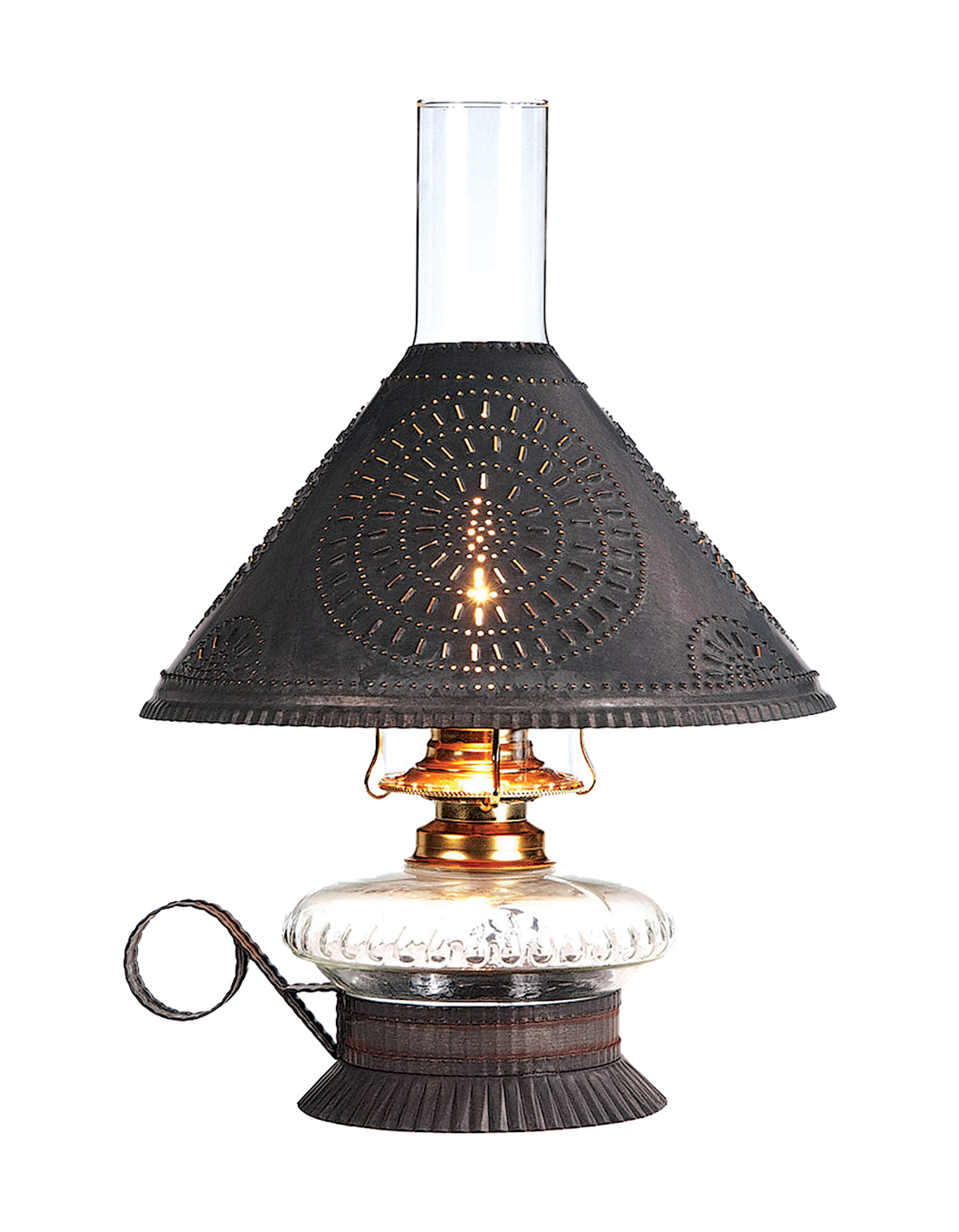 With a chisel-punched shade and glass reservoir base, House of Antique Hardware's Electrified 'Cupid' lamp is a revival of an authentic oil lamp design.