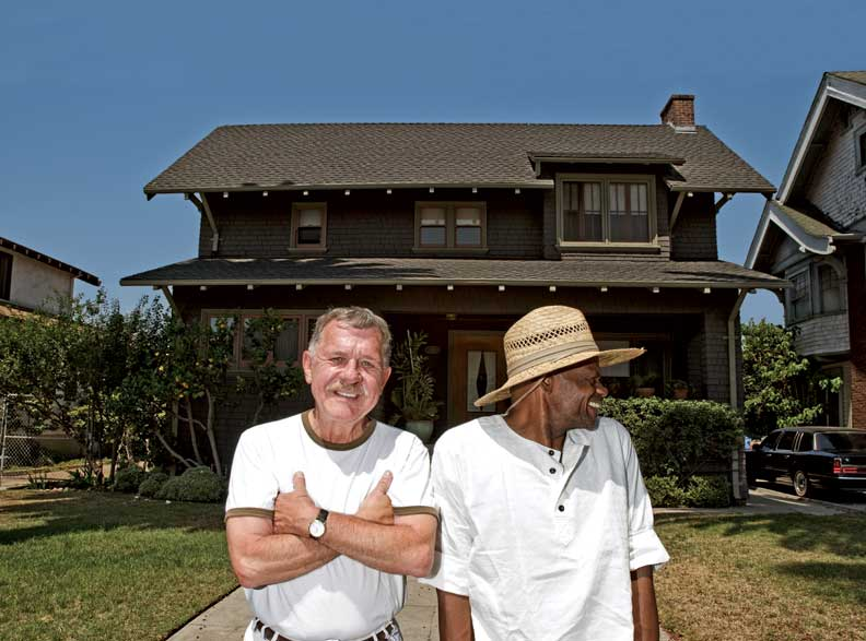 Donald Weggeman and Odel Childress in front of their 1906 Hollywood Craftsman.
