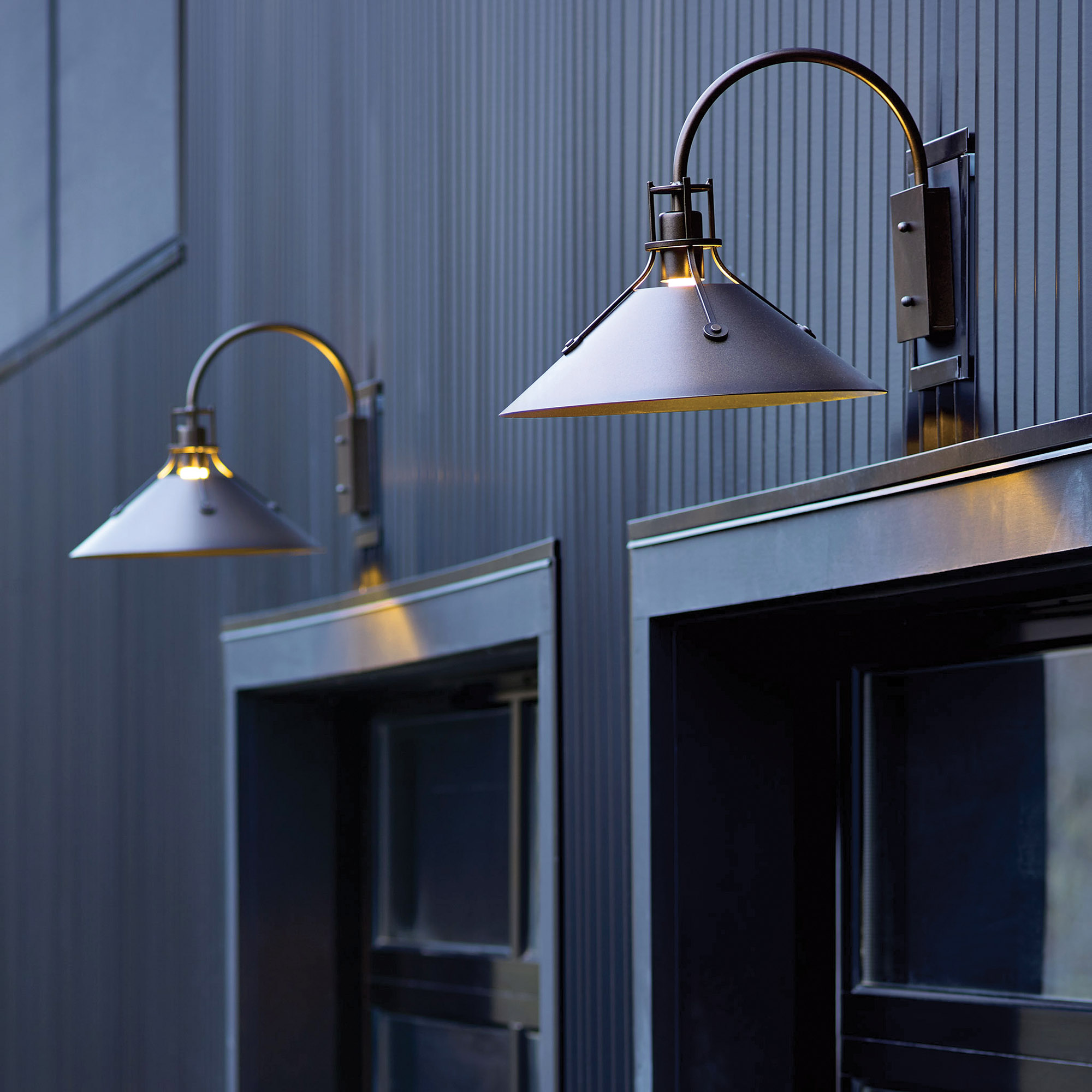 Barn-style lighting fixtures from Hubbardton Forge.